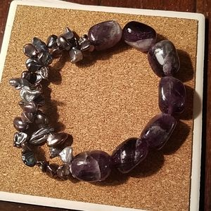 Jewelry - Baroque Pearls and Amethyst Stretch Bracelet